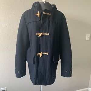 H&M navy blue long duffle coat with toggles